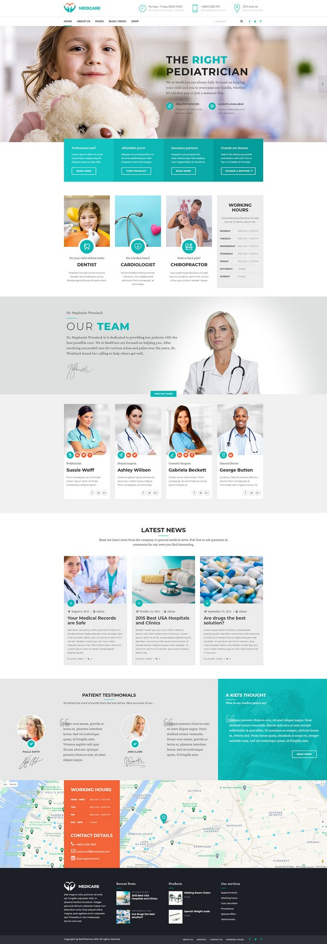 health and medical wordpress theme Medicare main homepage layout for clinic