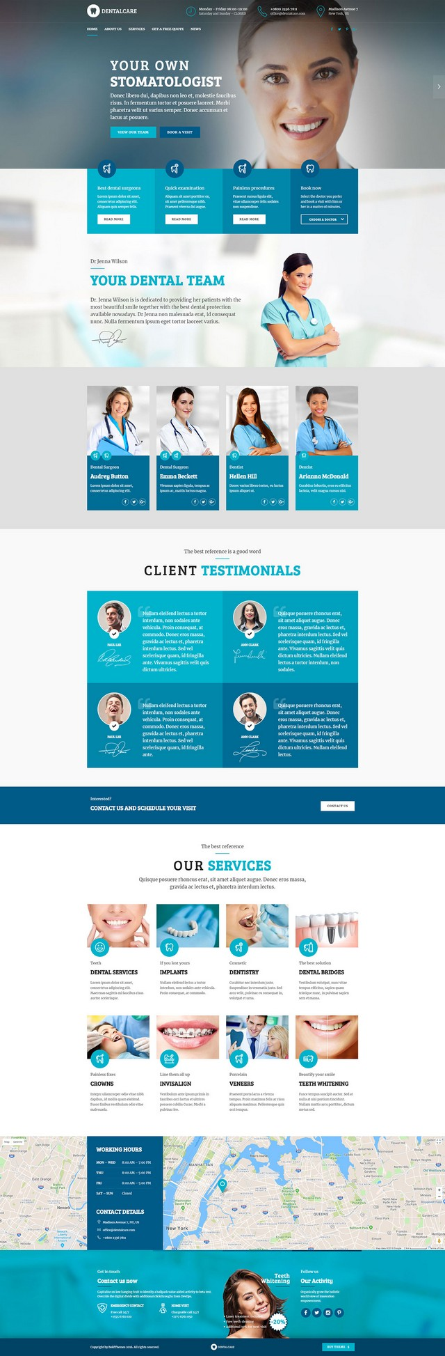 health and medical wordpress theme Medicare homepage layout for dentist