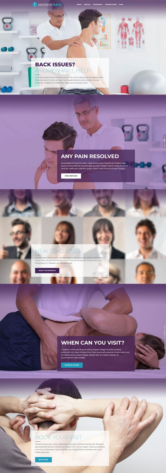health and medical wordpress theme Medicare homepage layout for physiatrist