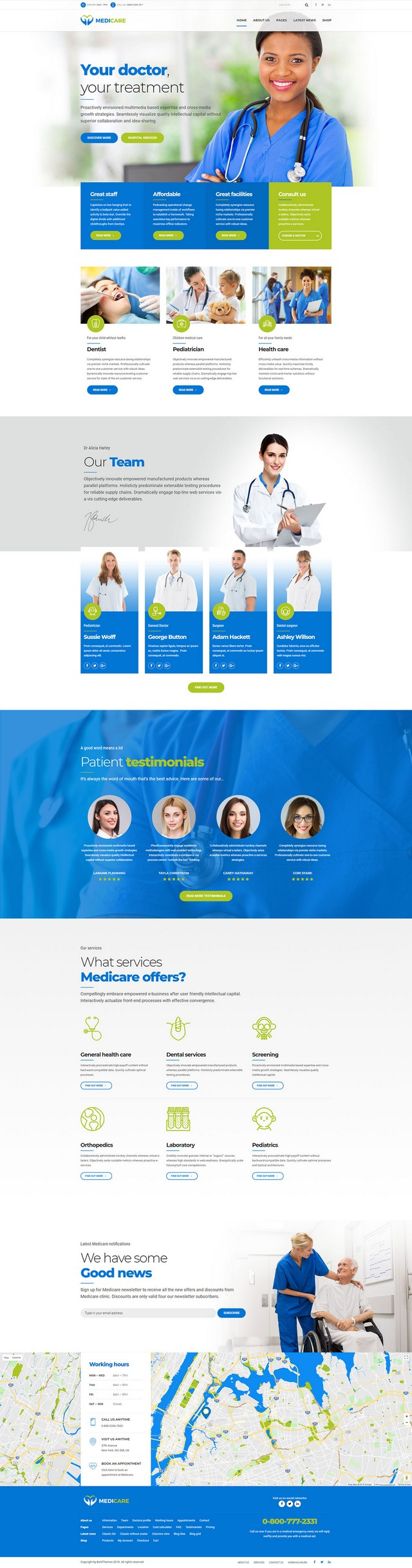 health and medical wordpress theme Medicare homepage layout for general hospital
