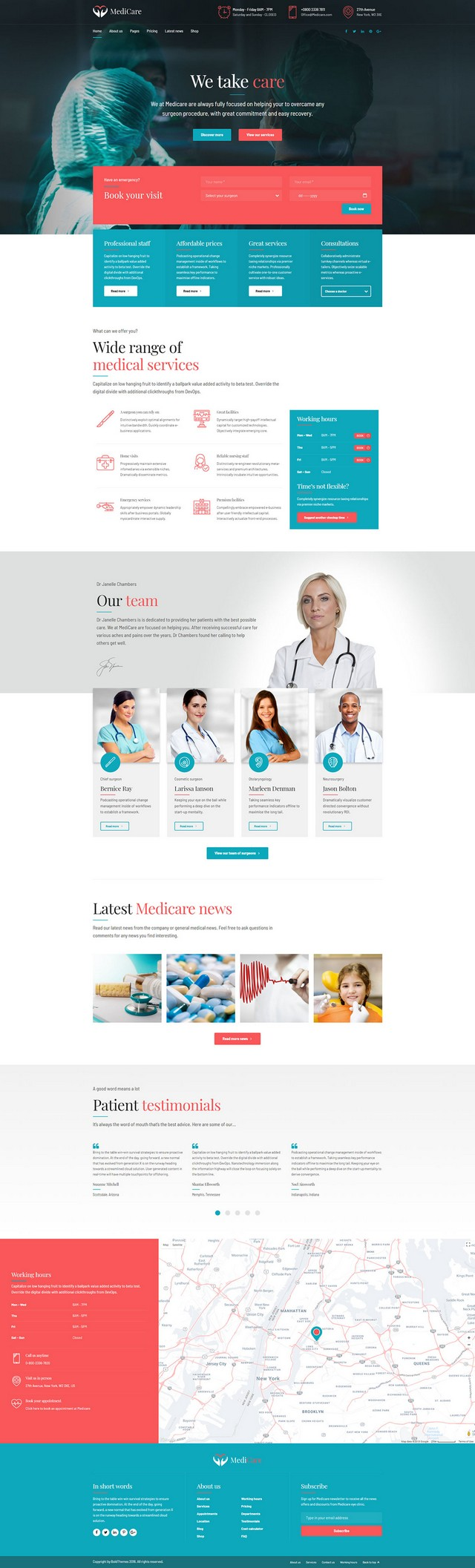 health and medical wordpress theme Medicare homepage layout for surgery clinic