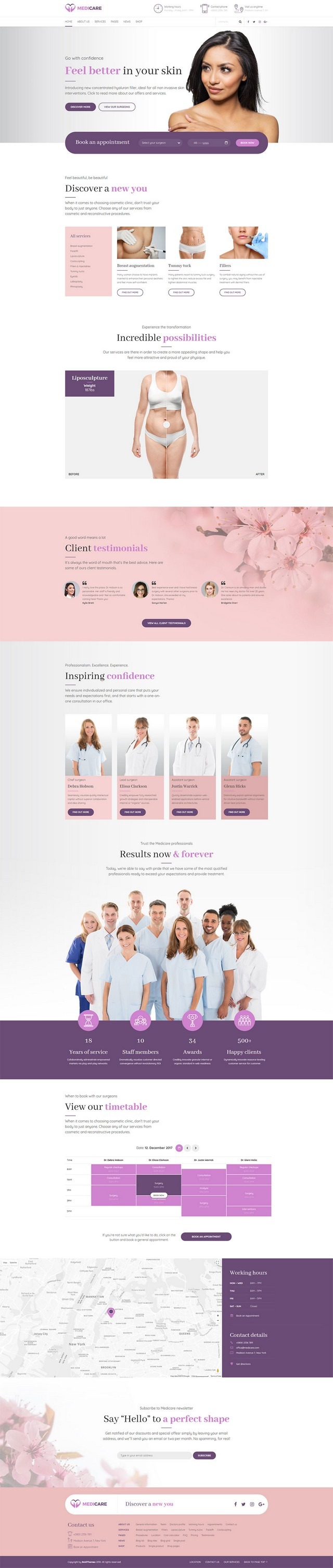 health and medical wordpress theme Medicare homepage layout for cosmetic surgery