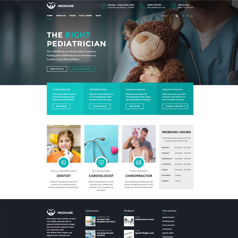 health and medical wordpress theme Medicare homepage with horizontal left menu