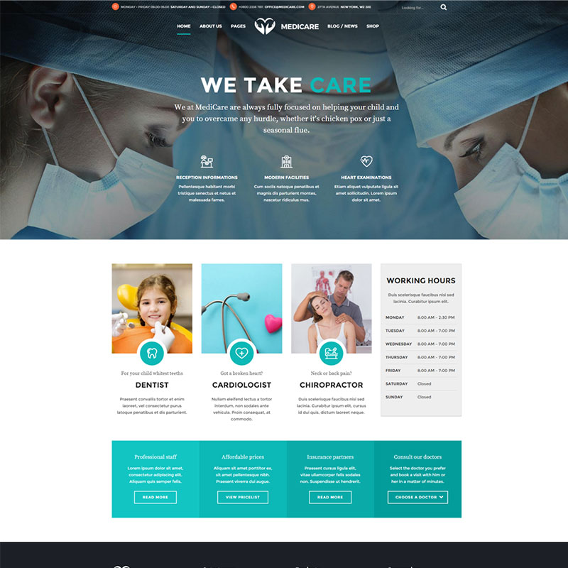 health and medical wordpress theme Medicare homepage with horizontal centered menu