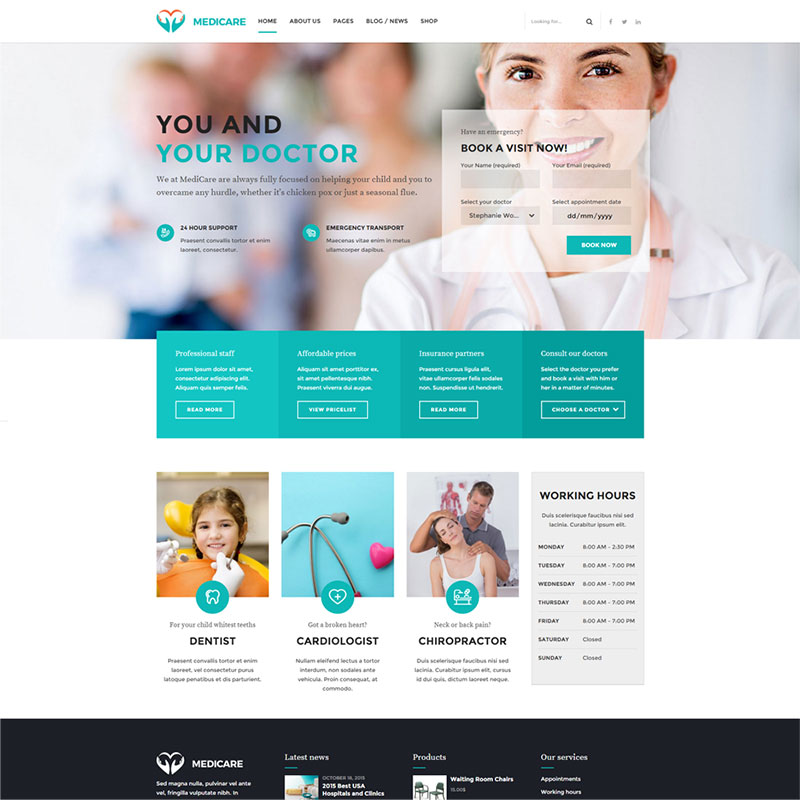 health and medical wordpress theme Medicare homepage with book now widget