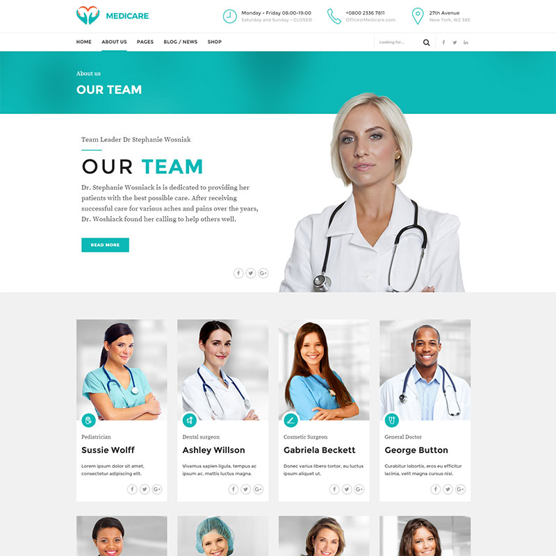 health and medical wordpress theme Medicare about us page layout