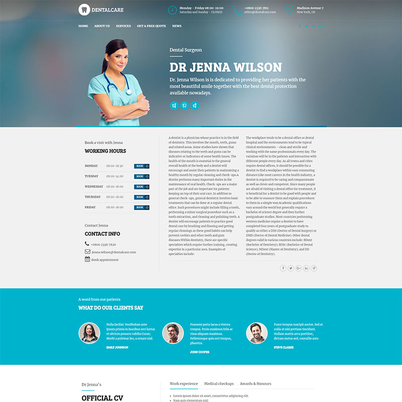 health and medical wordpress theme Medicare doctor profile page layout