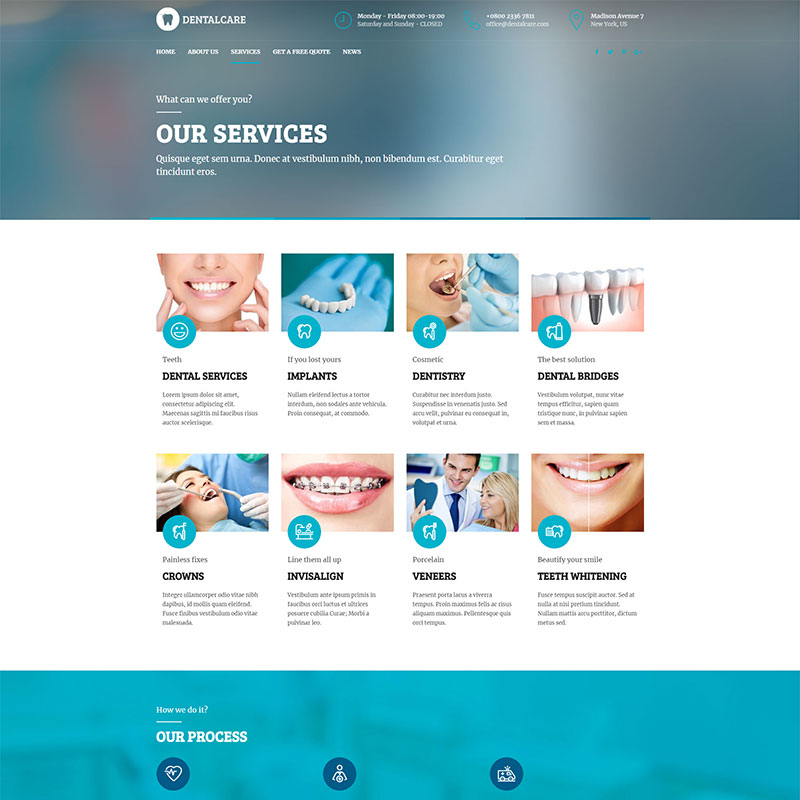 health and medical wordpress theme Medicare dentist services page layout