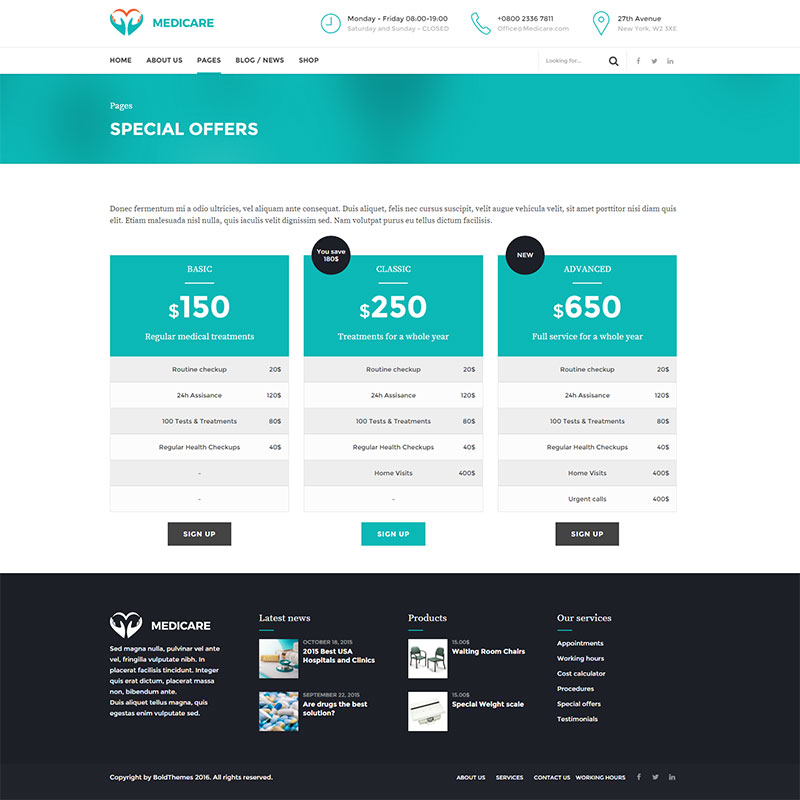 health and medical wordpress theme Medicare special offers page layout