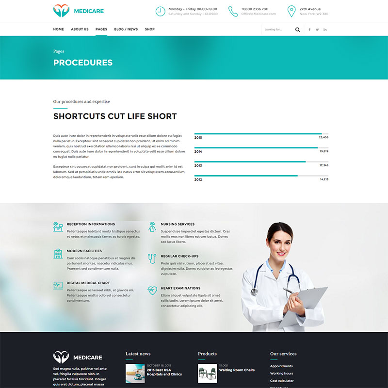 health and medical wordpress theme Medicare procedures page layout