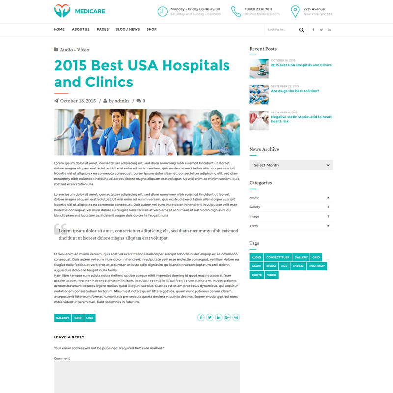 health and medical wordpress theme Medicare blog page layout
