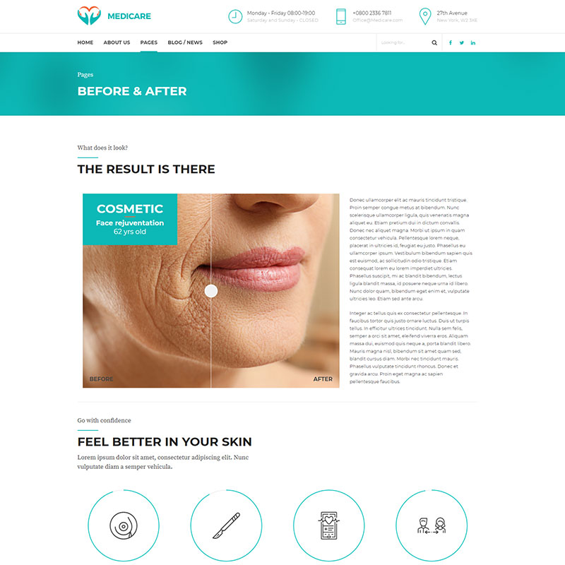 health and medical wordpress theme Medicare page with before-after cosmetic procedure tool