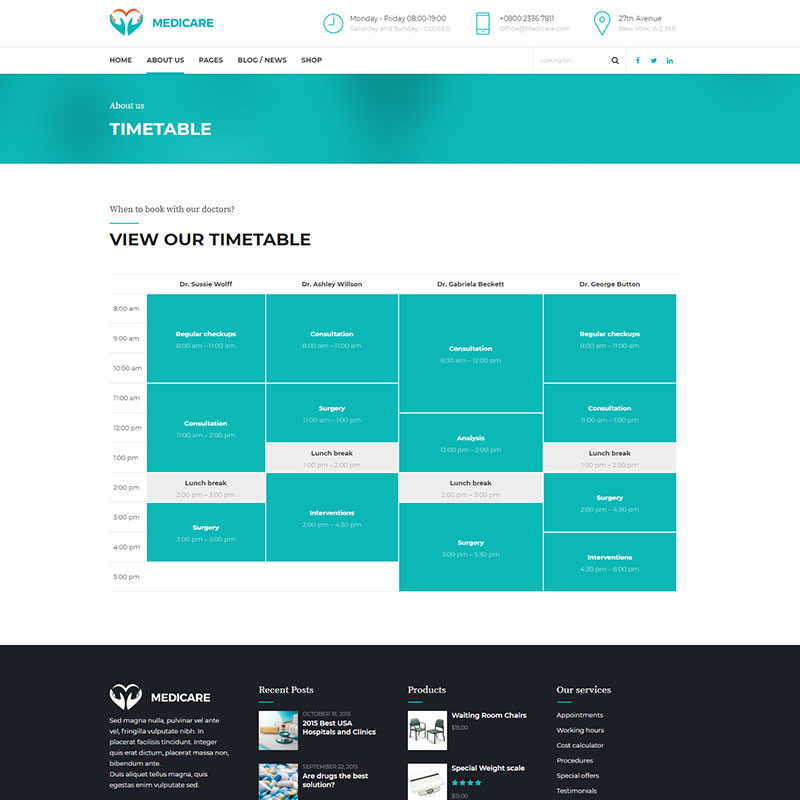 health and medical wordpress theme Medicare page with timetable feature w