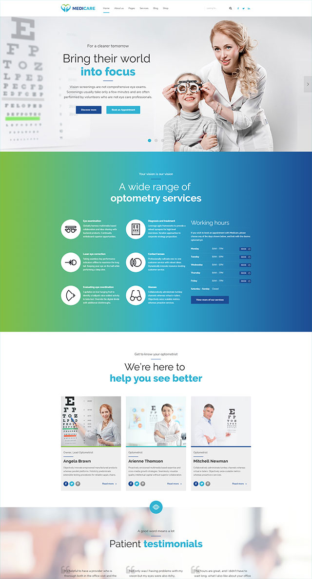 health and medical wordpress theme Medicare homepage layout for eye clinic
