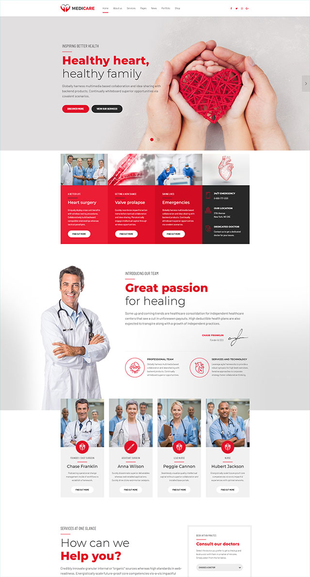 health and medical wordpress theme Medicare homepage layout for cardiology