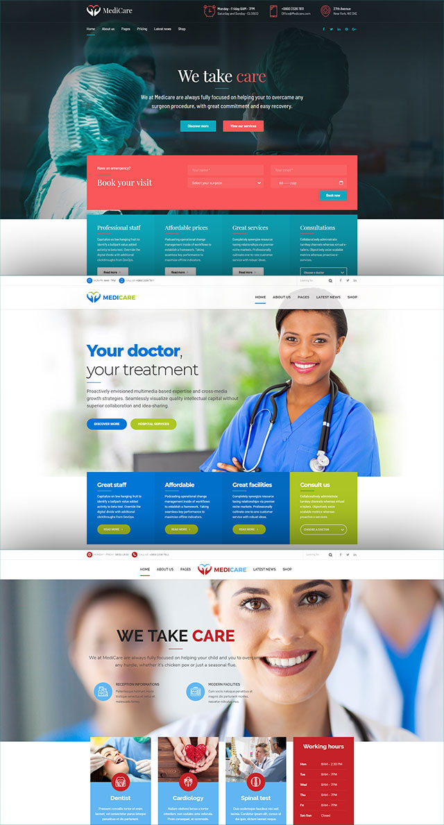 health and medical wordpress theme Medicare three homepages in a column